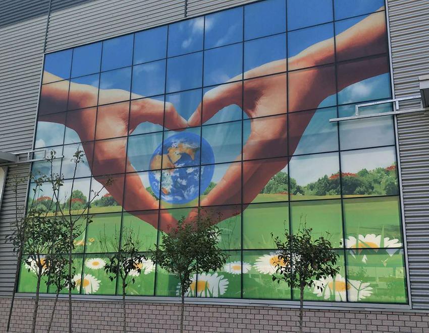 中玻(临沂)王者体育直播app苹果有限公司厂房幕墙,6超白彩绘+12A结+6白玻钢化中空